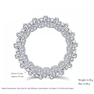 Round cut CZ Eternity Ring Clear micro paive band